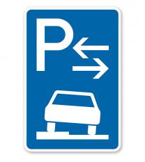 Parkplatzschild Parken halb auf Gehwegen - Mitte - VZ 315-53