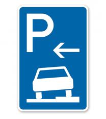 Parkplatzschild Parken halb auf Gehwegen - Anfang - VZ 315-56
