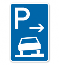 Parkplatzschild Parken halb auf Gehwegen - Anfang - VZ 315-57