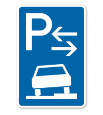 Parkplatzschild Parken halb auf Gehwegen - Mitte - VZ 315-58