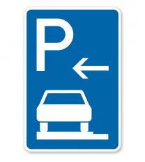 Parkplatzschild Parken ganz auf Gehwegen - Anfang - VZ 315-61