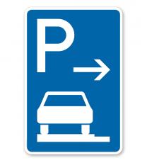 Parkplatzschild Parken ganz auf Gehwegen - Ende - VZ 315-62