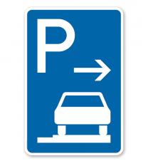 Parkplatzschild Parken ganz auf Gehwegen - Ende - VZ 315-67