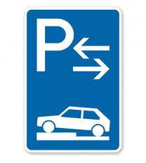 Parkplatzschild Parken halb auf Gehwegen - Mitte - VZ 315-73