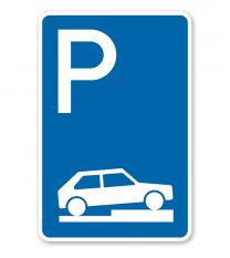 Parkplatzschild Parken halb auf Gehwegen - VZ 315-75