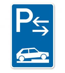 Parkplatzschild Parken halb auf Gehwegen - Mitte - VZ 315-78