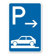 Parkplatzschild Parken ganz auf Gehwegen - Anfang - VZ 315-81