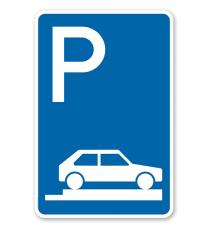 Parkplatzschild Parken ganz auf Gehwegen - VZ 315-85