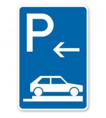 Parkplatzschild Parken ganz auf Gehwegen - Anfang - VZ 315-86