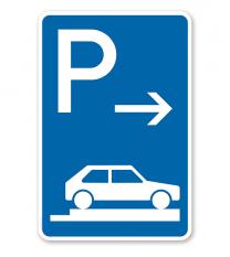 Parkplatzschild Parken ganz auf Gehwegen - Ende - VZ 315-87