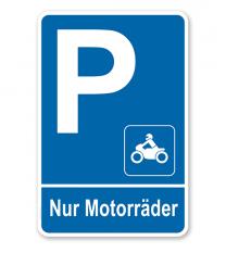 Parkplatzschild Nur Motorräder – P