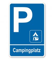 Parkplatzschild Campingplatz - Wohnwagen – P