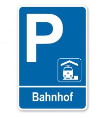 Parkplatzschild - Bahnhof – P