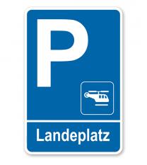 Parkplatzschild - Landeplatz - Hubschrauber – P