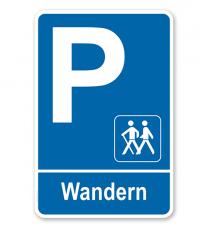 Parkplatzschild - Wandern – P