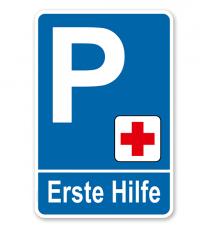 Parkplatzschild - Erste Hilfe – P