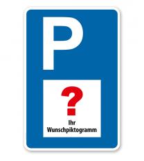 Individuelles Parkplatzschild mit großem Symbol – P