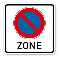 Halteverbotsschild Eingeschränktes Halteverbot - Zone - quadratisch
