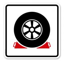 Parkplatzschild Keilsicherung - quadratisch - P