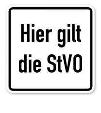 Parkplatzschild Hier gilt die StVO - quadratisch - P