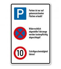 Schild Betriebsgelände - Parken - Halteverbot - Geschwindigkeitsbegrenzung - P