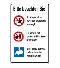 Schild Tiefgarage - Hinweise - P