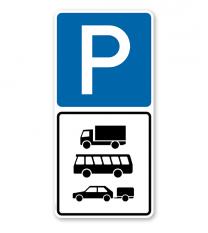 Parkplatzschild Parksymbol mit 1 Zusatzzeichen - Kombination - P