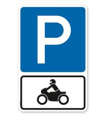 Parkplatzschild Parksymbol mit Zusatzschild Nur für Motorräder - Kombination - P