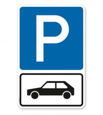 Parkplatzschild Parksymbol mit Zusatzschild Nur für Autos - Kombination - P