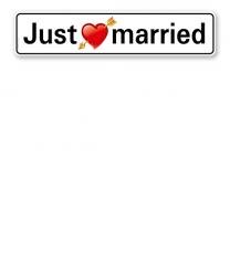 Parkplatzreservierer / Hochzeitsschild - Just married - mit Herz – P