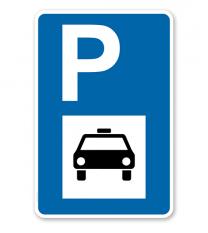 Parkplatzschild - Taxi - mit Taxisymbol – P