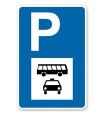 Parkplatzschild - Busse und Taxen - mit Symbol – P