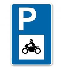 Parkplatzschild - Motorräder - mit Motorradsymbol – P