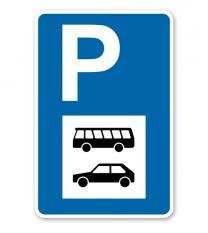 Parkplatzschild - PKW und Busse - mit Symbol – P