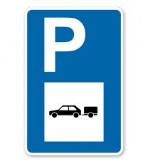 Parkplatzschild - PKW mit Anhänger - mit Symbol – P
