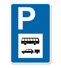 Parkplatzschild - Busse und PKW mit Anhänger - mit Symbol – P