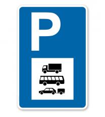 Parkplatzschild - PKW, Busse und LKW - mit Symbol – P