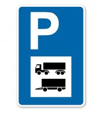 Parkplatzschild - LKW und Anhänger - mit Symbol – P