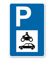 Parkplatzschild - PKW und Motorräder - mit Symbol – P