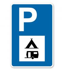 Parkplatzschild - Camping Wohnwagen - mit Zeichen VZ 365-60 – P