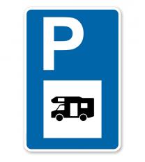 Parkplatzschild - Wohnmobil - mit Wohnmobilsymbol – P