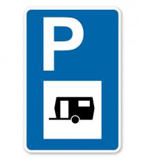 Parkplatzschild - Wohnwagen - mit Wohnwagensymbol – P
