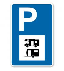 Parkplatzschild - Wohnwagen, Wohnmobil - mit Symbol – P