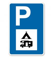 Parkplatzschild - Campingzeichen und Wohnmobil - mit Symbol – P