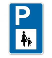 Parkplatzschild - Mutter mit Kind - mit Symbol – P