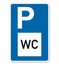 Parkplatzschild - Toilette - WC - mit Zeichen VZ 365-58 – P