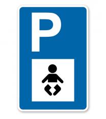 Parkplatzschild - Babyraum - Wickelraum - mit Symbol – P