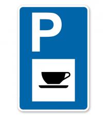 Parkplatzschild - Autobahnkiosk - Gastronomie - mit Zeichen VZ 365-57 – P
