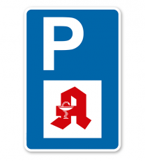 Parkplatzschild - Apotheke - mit Apothekensymbol – P