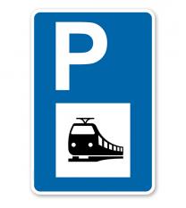 Parkplatzschild - Bahnhof, Zug - mit Symbol – P